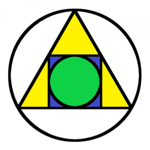 This symbol, also related to Pythagorean teachings, combines the basic geometry symbols of a triangle, a circle, and a square. It is generally interpreted as a symbol of transformation that tells the student that body, mind, soul and spirit must all work together for enlightenment